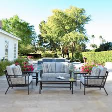 South beach 6 piece aluminum patio deep seating conversation set with sofa 2 club chairs granite table tops by coyote outdoor furniture bbq guys
