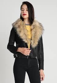 new look women sara shawl collar faux leather jacket black lapel collar zip zip pockets klcswtj