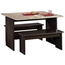 drop leaf table with benches in cinnamon cherry