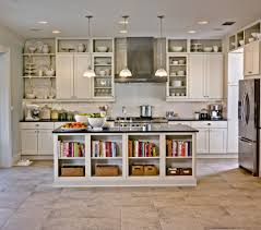 kitchen recessed lighting ideas and triple pendant lamps over kitchen island with shelves storage