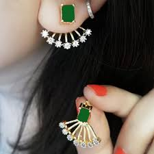 Ear Cuffs Indian Design Traditional Indian Fashion Gold Plated Emerald Stone Ear Cuff Stud Earrings