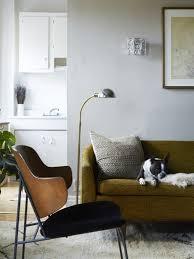 olive green couch a wood and black upholstered chair and boston terrier lounging in
