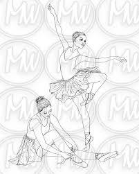 Ballerina Dans Afdrukbare Kleurplaat Digitale Stempel Etsy
