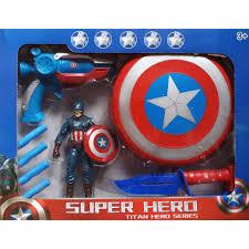 Đồ chơi siêu anh hùng kèm khiêng cho bé trai siêu bền, đội trưởng mĩ