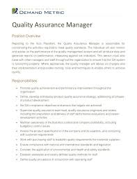 Quality Assurance Managerposition Overviewreporting To The