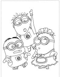 The Minion Character Girl And Boy Coloring Pages Despicable Me