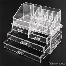 acrylic cosmetic makeup organizer jewelry display bo bathroom storage case set w 4 large drawers cosmetics cosmetic pany outlet from dyecigs