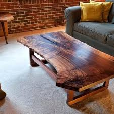 live edge walnut slab coffee table michigan wolverines