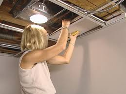 drop ceiling panels into position