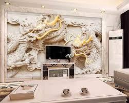 Beibehang Custom Wallpaper 3d New Chinese Reliefs Gold Royal Dragon