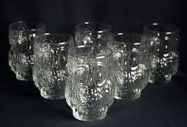 lot owl drinking glasses vintage glassware 3 d tumblers clear 6 retro cute drink for