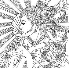 Asian Beauty Adult Coloring Page Coloring Pages For Adults