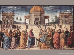 frescoes in the sistine chapel scene christ gives peter the keys