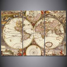 ... Large-size of Interesting Framed Hd Printed Vintage World Map Poster  Wall Art Printroom World ...