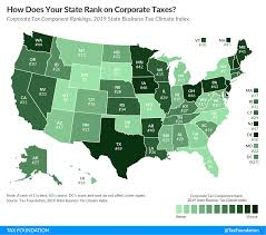 corporate ine tax rankings on the 2019 state business tax climate index