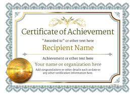 Printable Achievement Certificates Certificate Of Achievement Free Templates Easy To Use Download Print