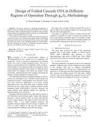 Ota Circuit Design Design Of Folded Cascode Ota In Different Regions Of Operation