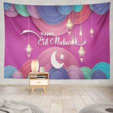 Moon <b>Wall</b> Hanging Tapestry, WAYATO 80 x 60 inch Eid <b>Mubarak</b> ...