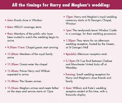 Wedding Schedule Royal Wedding Timetable All The Timings For Harry And Meghans Wedding