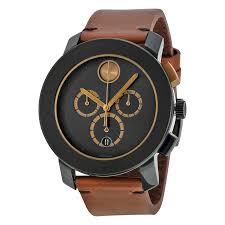 movado movado chronograph black dial cognac leather mens watch zoom