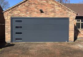 anthracite unribbed with rectangle windows ral colour unribbed sectional garage doors