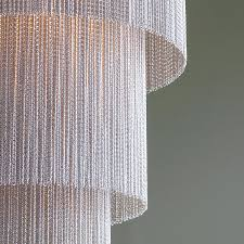 long silver chain chandelier detail