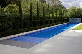 Pool Design Clean Lap Pool Design Ideas With Trimmed Bush Beside And Marble Paving