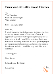 thank you after an interview thank you letter after interview format sample example