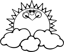 Small Picture coloring page of smiling sun rising above the clouds Coloring Point