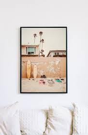california wall art orange surf poster