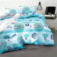 sea life bedding pigment green white and blue c reef sea shell starfish fish print ocean