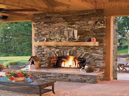 outdoor stone patio with fireplace stone wall patio ideas