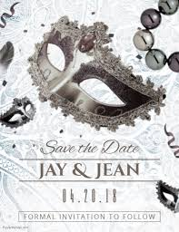 Masquerade Wedding Invites Save The Date Masquerade Wedding Card Template Postermywall