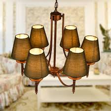 6 light gold wrought iron chandelier with cloth shades dk 006 6