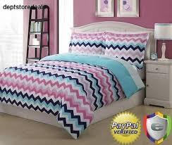 chevron comforter set pink blue zigzag