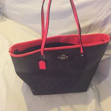 Coach Monogram Tote , dark brown and hot pink