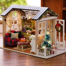 Mini Lights On House Us 13 77 36 Off Diy Christmas Miniature Dollhouse Mini 3d Wooden House Room Craft With Furniture Led Lights Birthday Gift Christmas Decoration In