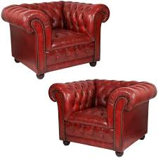 popular of red leather club chair with vintage pair of red leather chesterfield club chairs at