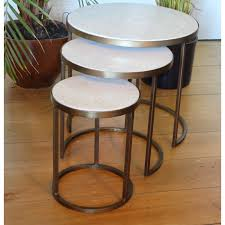 white marble nesting coffee tables by madam stoltz set of three brass nesting tables