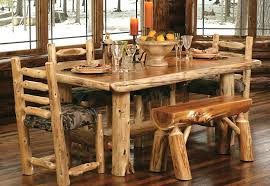 rustic kitchen table sets tables log wood round and chairs