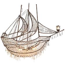 decorative iron and crystal ship chandelier for