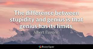 the difference between stupidity and genius is that genius has its quote the difference between stupidity and genius is that genius has its limits albert einstein