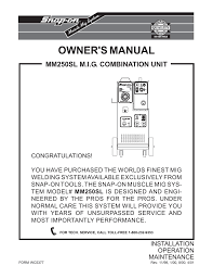 Mig Welding Gas Pressure Chart Snap On Mm 250 Sl Owners Manual Manualzz Com