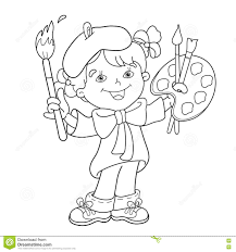 Small Picture Coloring Page Outline Of Cartoon Girl Artist With Paints Stock