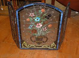 art glass fireplace screens art deco style stained glass fire screen