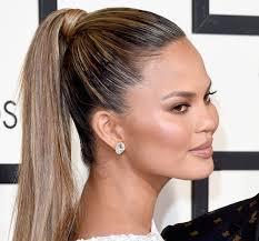 chrissy teigen high ponytail hairstyle