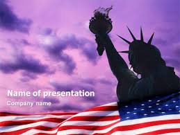 American Flag Powerpoint Statue Of Liberty With American Flag Presentation Template
