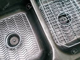double bowl kitchen sink with white mats and dish drainer stock with measurements 1300 x 975