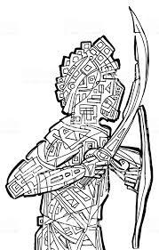 Fantasie Krijger Met Zwaarden Kleurplaat Pagina Stockvectorkunst En