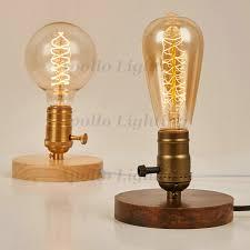 edison table lamp vintage home lighting. Wood Base E26/E27 Edison Bulb Vintage Table Lamp Aluminum Holder Desk Loft Home Lighting